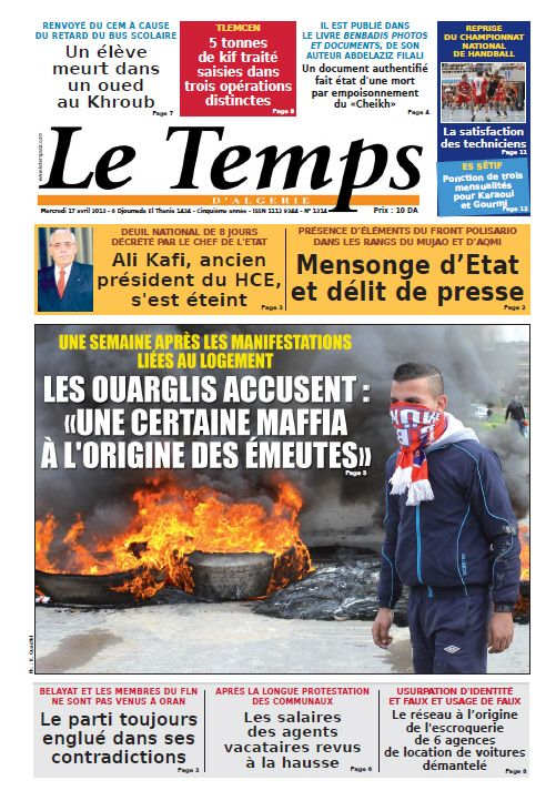 Le Temps Algérie Mercredi 17 Avril 2013