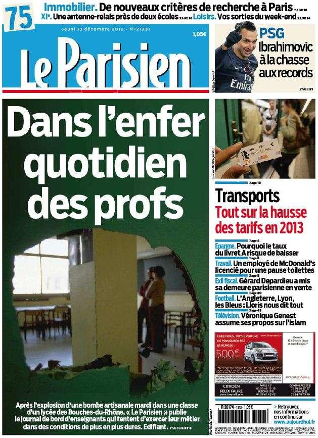 Le Parisien Jeudi 13 Décembre 2012