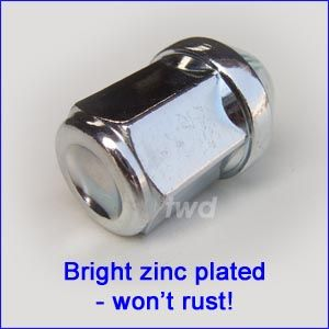 Bright zinc plated M12x1.5 wheel nut
