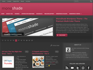 Dark Reddish Pink version of monoshade (dark background).