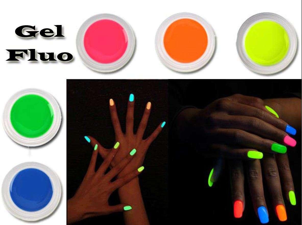 Famoso KIT 5 GEL UV FLUO COLORATI UNGHIE NAIL ART RICOSTRUZIONE  XG74